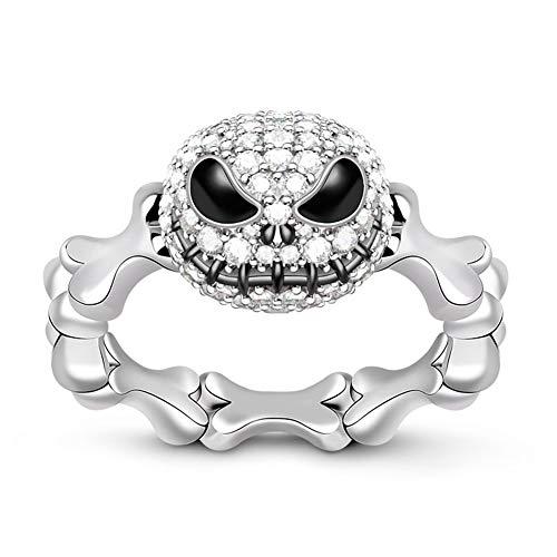 GNOCE Anillo de plata de ley con diseño de calavera de Jack para mujer y hombre, anillo de compromiso