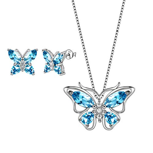 Aurora Tears Blue Butterfly Jewelry Sets Women 925 Sterling Silver March-Aquamarine Birthstone Necklace/Earrings Butterflies Sets Girls Birth Stone Animal Jewellery Birthday Gift DS0035S