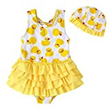 little dragon pig Toddler Girl Swimsuit 3T 4T Yellow Tiered Skirts One Piece