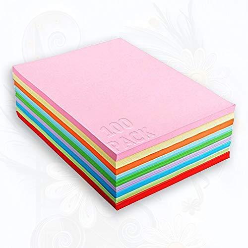 100 Blätter A4 Buntpapier 10 Farben, bunte Blätter in 80g/m², für DIY Kunst Handwerk, Drucker,Kopierpapier farbig