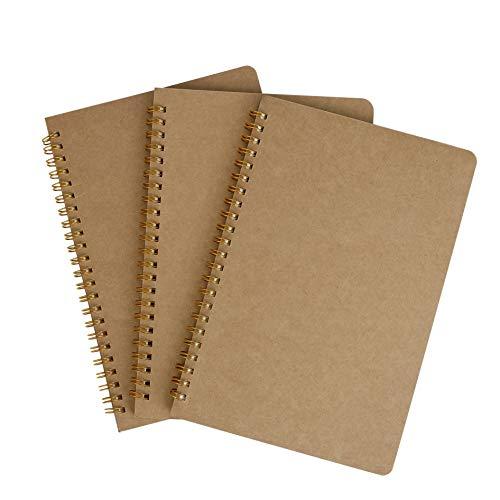Blocco Note A5, Quaderno a Spirale Rilegatura Schizzi di Carta Kraft Cover, 3PCS Diario Pagine Bianche Taccuino Journal per Libro da Disegno, Appunti Graffiti e Registrare(50 Fogli, 80gsm)