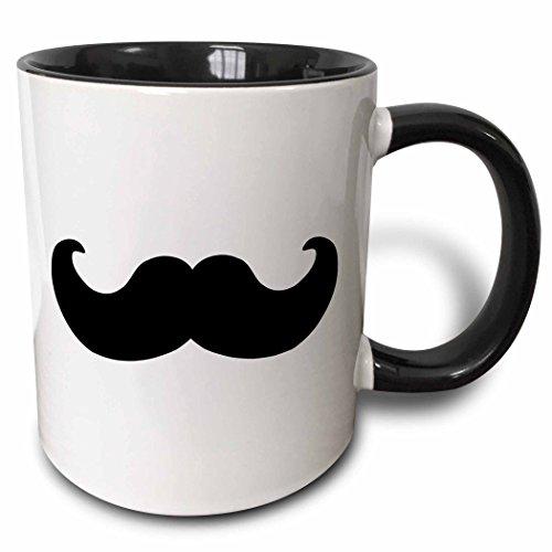 3dRose mug_58329_4'Black mustache on white - Ironic hipster moustache - Humorous - Fun - Whimsical - Silly - Funny' Two Tone Black Mug, 11 oz, Multicolor