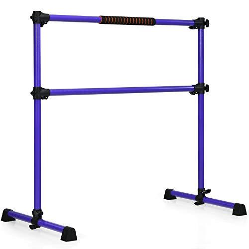 GOFLAME Ballet Barre Portable Double, Freestanding Ballet Barre Adjustable, Heavy Duty Dancing Stretching Ballet for Home,Dance Barre, Fitness Ballet Bar (Purple)