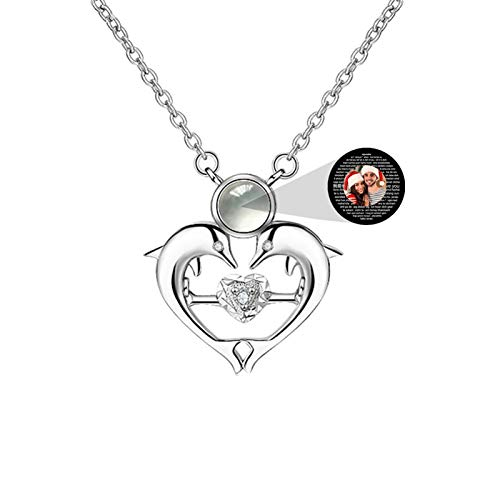 Personalized Woman Necklace Custom Photo Necklace Heart Necklace Promise Projection Necklace Memory 100 Languages I Love You Necklace Christmas Birthday Gift for Women(Silver Full Color 22)
