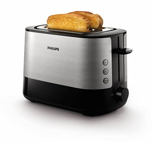 Philips Daily HD2637/90 - Tostador 950w, Doble Ranura, Color Negro, Inox