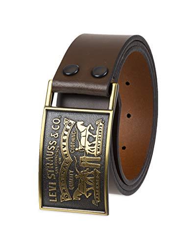 Levi´s Cinturón de hombre de 38 mm, con hebilla de placa con cierre a presión - Marrón - 42
