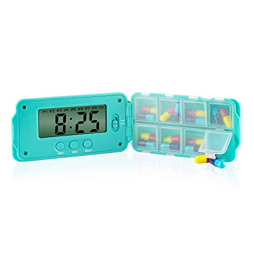 TabTime Super 8 (mit deutscher Anleitung), elektronische Pillenerinnerung/Pillendose/ Medikamentenbox mit 8 Alarmen pro Tag. Essentiell für Parkinson-Patienten