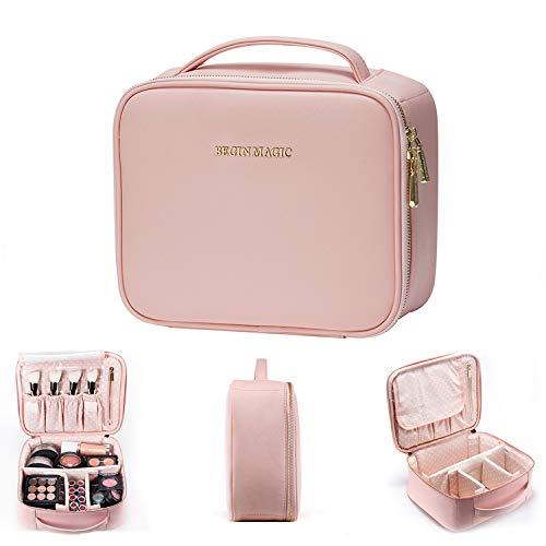 BEGIN MAGIC 10' Makeup Bag Travel Makeup Train Case Professional Makeup Organizer Bag Small Portable Cosmetic Organizer Case with Adjustable Divider- PINK