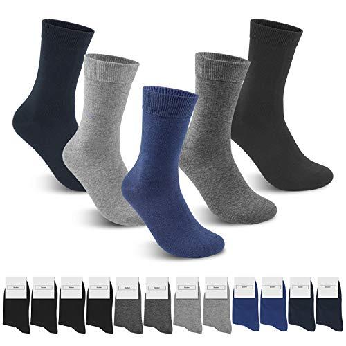 Smart Sir Socken Herren Damen 12 paar Unisex Socken Business Komfortbund Lange Baumwoll Socken (Schwarz+Marine+Marineblau+Dunkelgrau+Hellgrau*12+35-38)