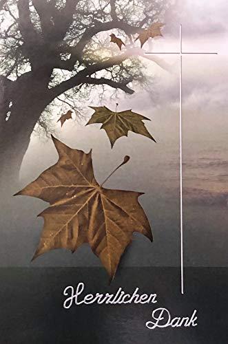 Trauer Danksagungskarten Trauerkarten ohne Innentext Motiv Baum 25 Klappkarten mit weißen Umschlägen im Set Dankeskarten Dankeschön Karten Kuvert Danke sagen Beileid K229