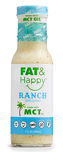 FAT & Happy Ranch Dressing, Keto, MCT oil, No Sugar, Gluten Free, Non-GMO, 8oz