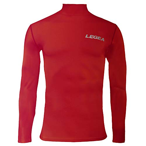 Legea Body 6 Dynamic-Maglia intima a maniche lunghe uomo, collo alto, Rosso, Taglia del produttore: L