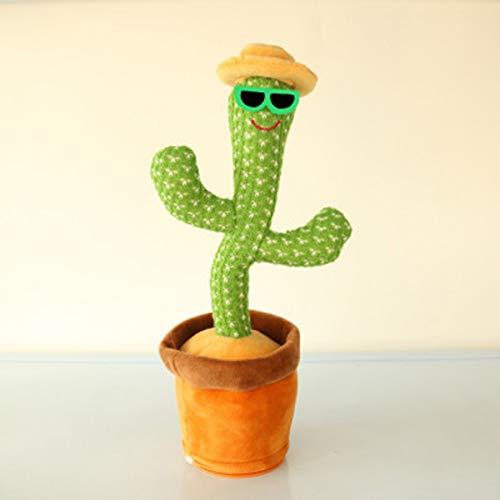 VIOYO Juguete de Cactus Bailando con Cara Sonriente y luz 120 Canciones, Broma, Canto, Felpa, 28 cm, Adorno ondulante, Regalo para nios