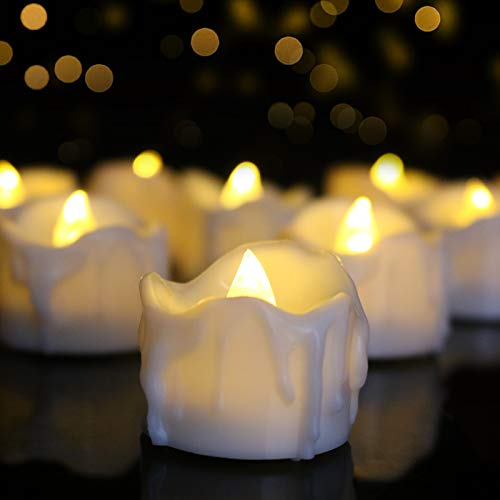 Led Tea Lights with Timer Battery Operated 12pcs Flickering Flameless Candles With 100 Fake Rose Petals, Electric Tealights Automatic ON OFF (6 Hrs on 18 Hrs Off) for Thanksgiving Day, Christmas Party