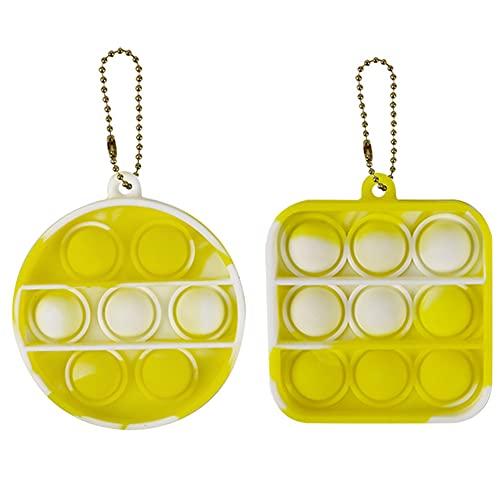 Juguete Antiestrés Sensorial De Silicona Para Voltear Juguete Llavero Juguetes De Descompresión De Juguete Que Son Fáciles De Llevar Juguetes De Mano Para Aliviar El Estrés,Yellow and white