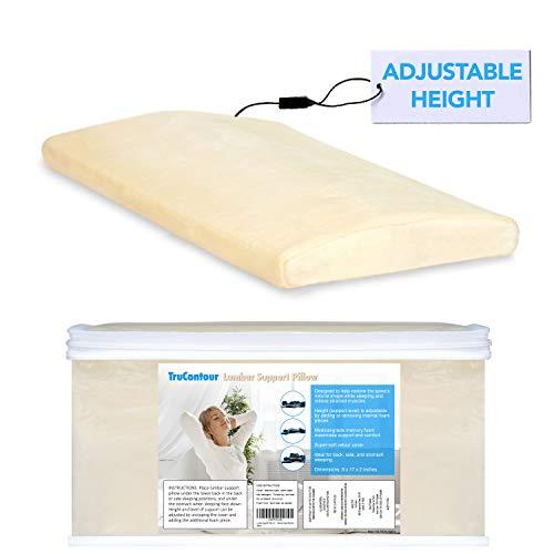 Lumbar Pillow for Sleeping - Adjustable Height -...