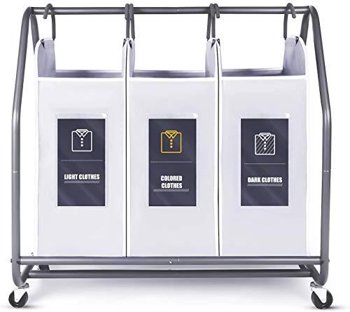 Rolling Wäschesortierer, Biemlerfn Wäschekorb mit 3 abnehmbaren Taschen, Wäschewagen, Kleidung Spielzeug Organizer auf Rollen
