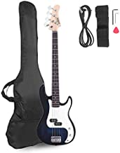 Glarry Electric Bass Guitar Full Size 4 String Rosewood Basswood Fire Style Exquisite Burning Bass (Dark Blue)