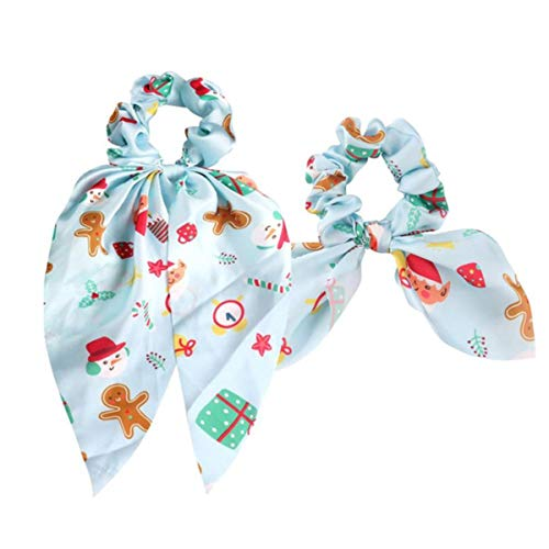 Boho Chic 2pcs Christmas Ponytail Vintage Scrunchie for Women Elastic Hair Bands Hair Accessories,2pcs sky blue
