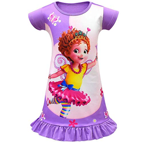 Wenge Fancy Nancy Comfy Loose Fit Pajamas Girls Printed Princess Dress Nightgown for Toddler 4-9Years (140/8-9Y, Purple)