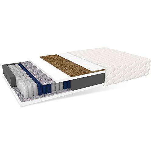 LikeInHeaven Matratze Home MAX Taschenfederkern Kokos Höhe 24 cm H3 weiß 140 x 200 cm, Schaumstoff