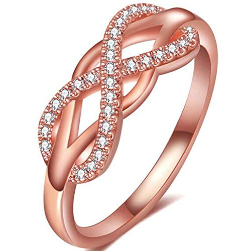 Jude Jewelers Silver Rose Gold Plated Infinity Heart Wedding Engagement Promise Statement Anniversary Ring (Rose Gold, 8)