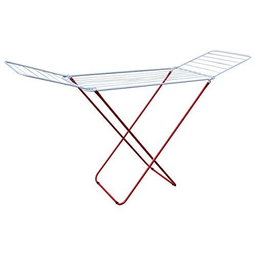 MSV 130083 - Tendedero desplegable (Acero Cromado, 18 m), Color Blanco y Rojo