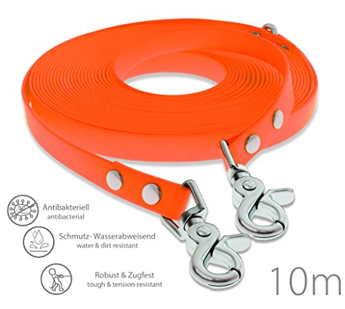 SNOOT Schleppleine 10m - Neon-Orange - zugfeste, schmutz- und Wasserabweisende Hundeleine mit Zwei Karabiner und D-Ring