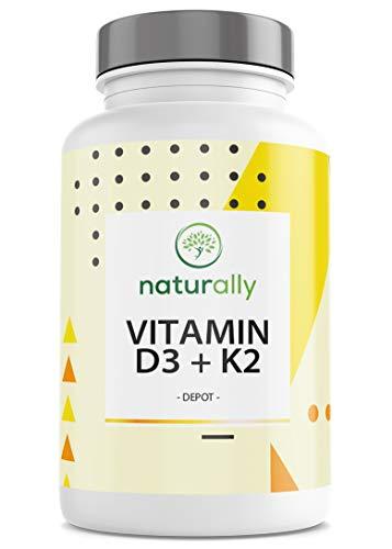 Vitamin D3 + K2 Depot Von Naturally - 120 Tabletten - Hochdosiert 5.000 I.E. Vitamin D3 Pro Tablette Mit Vitamin K2 (MK7) - Vorrat Für Mehr Als 1 Jahr - Laborgeprüft, Produziert In Deutschland…