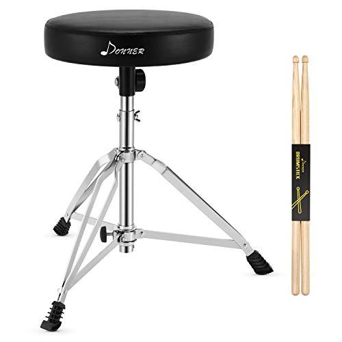 Drumhocker mit Ahorn Holz Drumsticks, Donner Schlagzeughocker Höhenverstellbar 48-58 cm für Elektronisches Schlagzeug, Drum Set, Maxi Belastung 90 kg