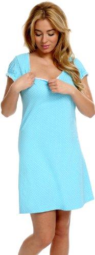 Italian Fashion IF Camicia da Notte Premaman T2L392N1 0114/1 (Blu, XL)
