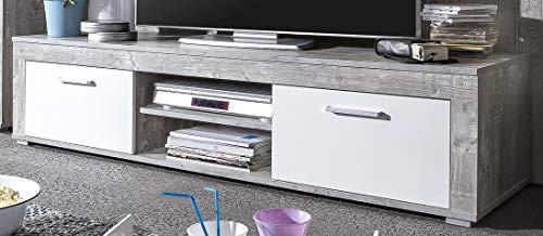 6.6.7.2945: made in BRD - Serie AWBW - Lowboard - weiss-grau gescheckt dekor - 2 Klappen - 2 Fächer - TV-Schrank