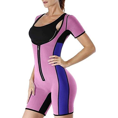 Traje de Sauna de Sudor de Cuerpo Completo de Neopreno Caliente para Mujer - Modelador de Cuerpo Completo con Control de Barriga (Color : Pink, Size : M)