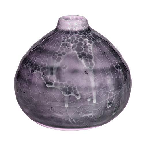 Vase Terry Blumenvase Dekovase Krakelee Design aus Keramik in Lila/Aubergine/Violett H×Ø: 8,5×9cm