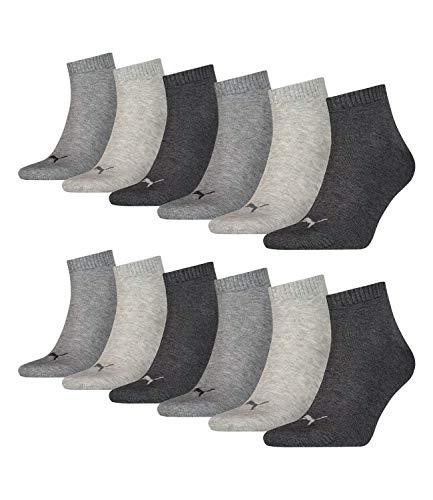 12 Paar PUMA Quarter Sportsocken (Kurzsocken) für Damen & Herren im Vorteilspack (Anthracite, 39/42)