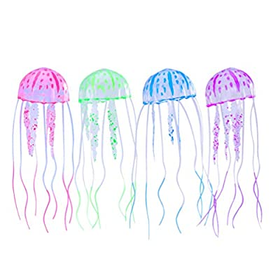 UEETEK 4pcs Jellyfish Aquarium Glowing Artificial Jellyfish For Aquarium Fish Tank Aquarium decoration(green+pink+blue+purple)