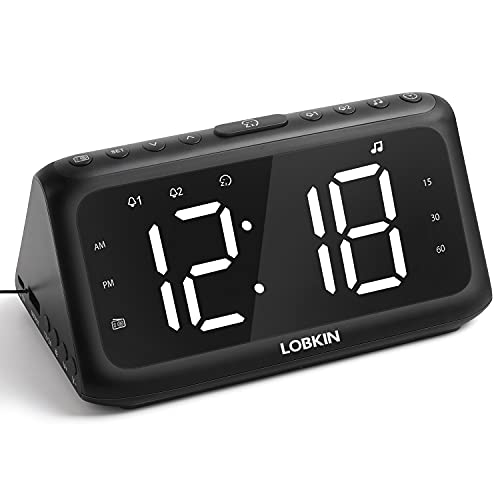 LOBKIN Digital Alarm Clock Radio,White Noise Speaker with 20 Sounds,LED Electric Clock,Snooze,Adjustable Dimmer/Volume,USB Charger, Sleep Timer,Dual Alarm for Kid Bedroom,Bedside, Office Desk
