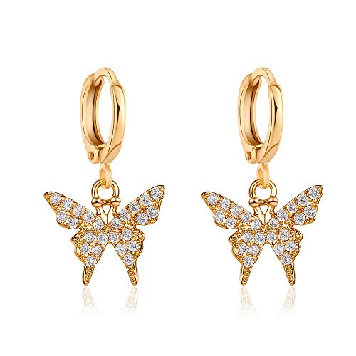 Butterfly Crystal Rhinestone Cubic Zirconia Hoop Drop Dangle Earrings Iced Out Dainty Shiny Set for Women Girl Jewelry Gifts Punk Cute Gold Silver-Long Gold