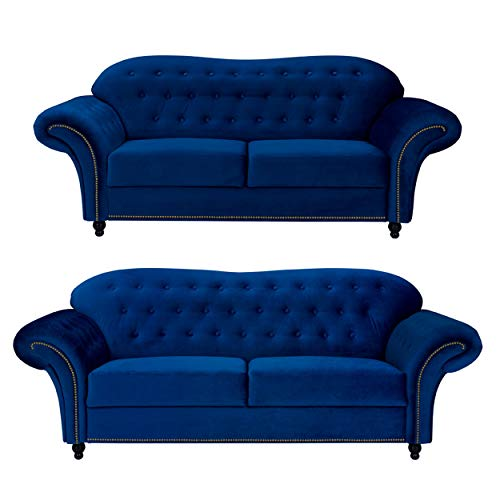 Sofas and More Lyon Chesterfield Style French Velvet fabric 3 + 2 seater sofa Armchair Blue Silver Grey (Blue, 3+2 Seater)