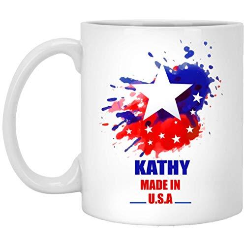 N\A Taza de café Personalizada con Texto para Adulto - Kathy Made In USA Flag Acuarela - Taza de café Personalizada para él, Ella en Feliz año Nuevo - Cerámica Blanca