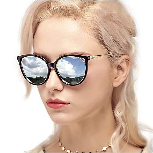 Myiaur fashion cat eye spiegel sonnenbrille frauen polarisierte uv schutz stilvolles design 100% Protección UVA UVB (Silber polarisierte Linse)