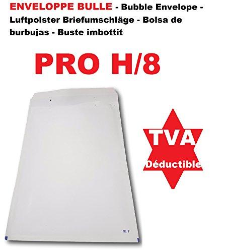 Buste 100 ha bolle bianche PRO H / 8270 x 360 mm dimens interno tale busta riempita H8 290 x 390 + 50 fuori