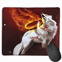 マウスパッド 炎の狼 Mousepad ミニ 小さい おしゃれ 耐久性が良 滑り止めゴム底 表面 防水 コンピューターオフィス ゲーミング 25 x 30cm