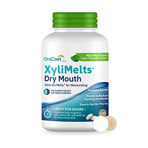 OraCoat XyliMelts Dry Mouth Relief Moisturizing Oral Adhering Discs Mild Mint with Xylitol, for Dry Mouth, Stimulates Saliva, Non-Acidic, Day and Night Use, Time Release for up to 8 Hours, 100 Count.