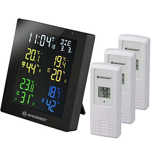Bresser Thermometer & Hygrometer Clima Temp Hygro Quadro Colour mit 4 verschiedenen Messpunkten inklusive 3 Außensensoren, schwarz
