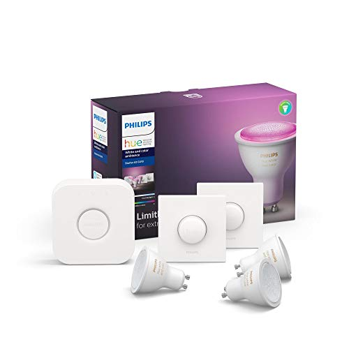 Philips Lighting Hue White and Color Starter Kit con 3 Faretti, con Bluetooth, Attacco GU10 + 1 Bridge Hue Controllo Completo del Sistema + 2 Telecomandi Hue Smart Button, Bianco