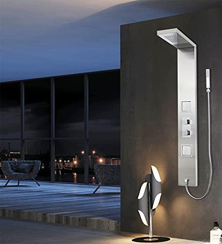 Elbe®Duschpaneel aus Vollmetall, mit Thermostat, gebürstetem Edelstahl 304 und eingebauter Duscharmatur aus Messing, luxuriöses und kreatives Design