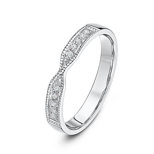Theia 9ct White Gold 0.1ct Diamond Set 3mm Twist Wedding Ring - Size P