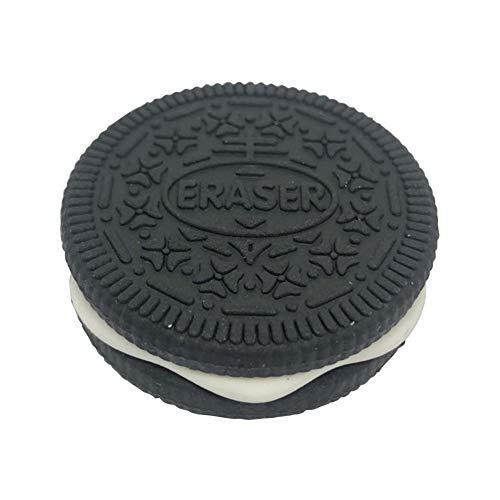 1PC Radiergummi kreativen Radiergummi Cookie-Radiergummi Schokoladen-Biskuit-Plätzchen-Modellierung Gummi Schulbedarf Schwarz-Geschenk für Kinder Kinder Studenten Kinder