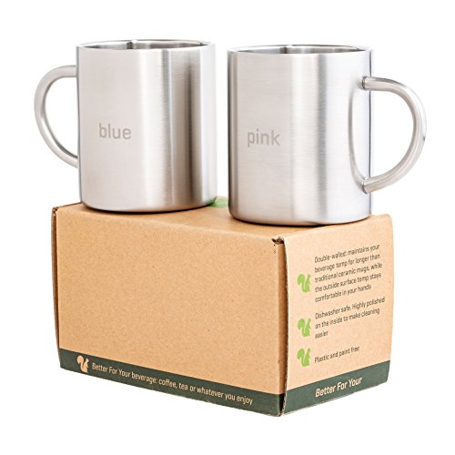 Coffee Mugs Tea Cups Stainless Steel with Laser Words 'Blue' - 'Pink' with Round Handles - Home, Camping, RV, Office Gift, Set of 2, Double Wall 13.5oz